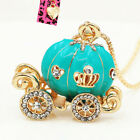 Betsey Johnson Enamel Crystal Cinderella Pumpkin Carriage Pendant Chain Necklace image
