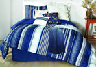 7 Piece London Blue/White Oversized Comforter Set image