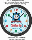 Thomas The Train Wall Clock-Add Child's Name Free-Choose for Boy or Girl