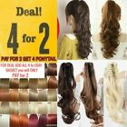 Claw ponytail clip in hair extension curly wavy Barbie pale blonde red brown Ash