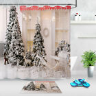New Year Trees Wrapped In White Snow Lights String Xmas Shower Curtain Bath Mat