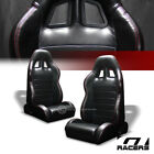 Universal 2PC SP Blk PVC Leather Red Stitch Reclinable Racing Bucket Seats G02B