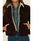 Levis Sherpa Womens Corduroy Trucker Jacket Color Burgundy 0030