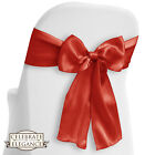 10 Satin Wedding Chair Cover Bow - Sashes - Ribbon Tie Back Sash - Many Colors