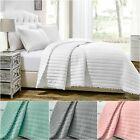 Chezmoi Collection Iris Pom Pom Fringe Pre-Washed Quilt Bedspread Coverlet Set image