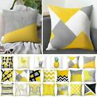 Pillow Case Yellow Polyester Sofa Car Waist Throw Cushion Cover Home Decoration image