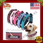 Personalized Dog Collar Leather Soft Padded Custom Name ID Tag Small-Large-XL US