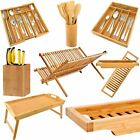 Bamboo Kitchen Storage Organiser Cutlery Serving Tray Dish Rack Knife Block