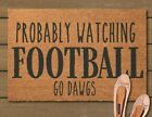 Hand Painted PERSONALIZED Probably Watching Football Door Mat