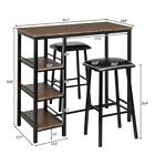 3 Piece Pub Table Set Bar Stools Dining Home Kitchen Furniture Chairs 3 Style