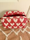 PB TEEN toiletry bag pink with white heats. water proof interior
