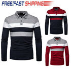 US Fashion Men Slim Fit Shirts Long Sleeve Golf T shirt Striped Tees Tops