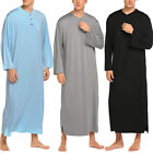 Men's Long Sleeve Nightshirt Pajamas Soft Sleepwear Loungewear Long Dress Robe