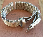 20mm 22mm 24mm ALL Brushed Shark Stainless Steel Mesh Watch Band Solid Buckle image