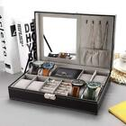8 Slot Watch Box PU Leather Box Ring Necklace Jewelry Case Storage with Mirror