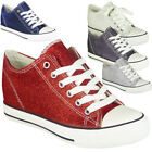 Womens Wedge Trainers Ladies Glitter Sneakers Lace Up Hidden Heel Pumps Shoes