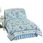 Collections Etc Beach Bliss Coastal Seashell Quilt BLUE AND W FULL/QUEEN image