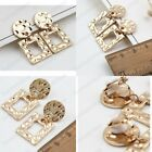 CLIP ON 3cm HAMMERED metal drop EARRINGS small square hoop GOLD/SILVER FASHION