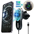 15W Qi Fast Wireless Car Air Vent Charger Magnet Phone Holder For iPhone Samsung