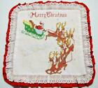 VINTAGE HAND MADE CROSS STITCH SANTA & SLEIGH CHRISTMAS PILLOW COVER~PHILIPPINES