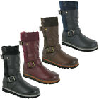 Womens Mid Calf Boots Platform Heel Fashion Zip Up Warm Lined Ladies Shoes UK3-8