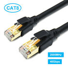 Cat8 Ethernet Cable 50ft 100ft 40Gbps 2000MHz With Gold Plated Connector