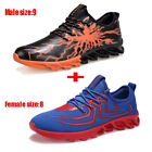 2PCS Set Orange+Blue Lightweight Casual Lovers Sports Running  Athletic Shoes US