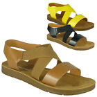 Womens Open Toe Sandals Ladies Summer Elastic Strappy Flat Comfy Light Shoes Siz