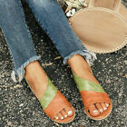 Womens Summer Flat Sandals Ladies Open Toe Slip On Boho Beach Casual Shoes Size