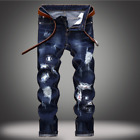 Men Ripped Biker Skinny Jeans Frayed Pants Casual Slim Fit Jogger Denim Trousers