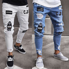 Kyпить Fashion Men Moto Biker Jeans Straight Skinny Slim Fit Denim Casual Wash Pant US на еВаy.соm