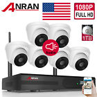 ANRAN Audio Wireless Dome Security Camera System 8CH NVR 1080P Outdoor 1TB Voice