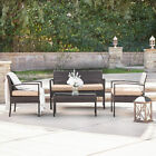 4PC Rattan Wicker Patio Furniture Set Sofa Chair +Table Cushioned Garden Outdoor