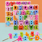 Alphabet ABC Wooden Puzzles Lacing Beads Game Education Children Toy Novelty