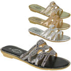 Womens Sliders Open Toe Ladies Summer Bling Flat Mules Comfy Casual Party Shoes