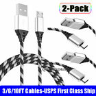 2-PACK For SAMSUNG S7 S6 Edge+ Note 5 S4 J7 J5 Fast Charger Micro USB Cable Cord