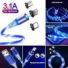 Magnetic Led Light Fast Phone Charging Cable Micro USB Type-C 3in1 Nylon Braided