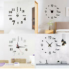 Modern DIY Large Acrylic Mirror Wall Clock 3D Mirror Sticker Home Room Decor USA