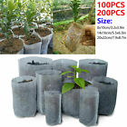 100/200pc Biodegradable Non-woven Nursery Bags Plant Grow Seedling Planting Pots
