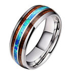 8mm Titanium Steel Rings Tungsten Carbide Hawaiian Wood Abalone Shell Style