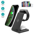3in1 Qi Wireless Charger Fast Charging Dock Stand For Apple Watch iPhone Samsung