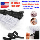 "3mm (1/8"") Width Flat Elastic Band  White/black For Diy Mask 10 Yards To 500 Ya"