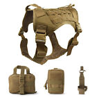 Tactical Service Dog Harness, Dog Training Vest Pet Harness with Molle Pouches a