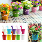 Mini Flower Pot Hanging Balcony Garden Fence Plant Metal Iron Planter Home Decor