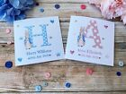 Personalised Peter Rabbit Card. New Baby Boy / Girl. Newborn Announcement Card