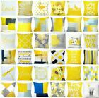 Yellow Throw Pillow Cover Decorative Abstract Gray White Bed Cushion Case 18x18""