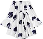 Romwe Women's Casual Floral Print Off Shoulder Trumpet Sleeve Swing Dress
