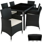 Set Rattan Garden Furniture 6 Chairs Table Dining Room Patio Outdoor Wicker New