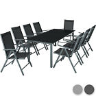 Aluminium Garden Furniture Set 8+1 Table And Chairs Dining Suite Foldig Glass