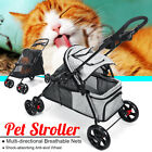 2 In 1 Pet Dog Cat Stroller Foldable Teddy 4 Wheeled Carrier Outdoor Travel Cart